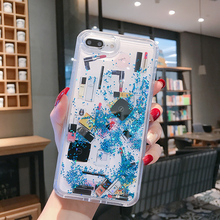 Fashion Cosmetic Makeups Lipstick Perfume Quicksand Phone Case For iPhone X 7 8 Plus Glitter case for 6S XS Max XR cover