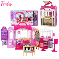 Original Barbie Dolls Furniture Miniatures Shiny Holiday Home Doll House Accessories Family Diy Cute Room Baby Girl Toys Boneca