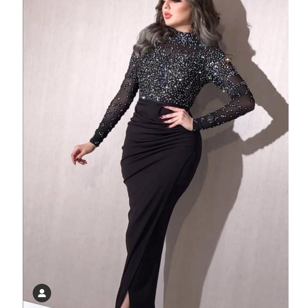 black prom dresses beaded crystal long sleeve pearls front slit pleats high neck mermaid evening dresses sheath formal dresses