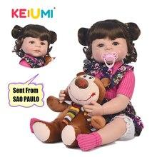 KEIUMI 22 ''Reborn baby girl полный корпус силиконовые модные детские куклы Дети Boneca Reborn DIY игрушки настоящая принцесса с изогнутыми волосами