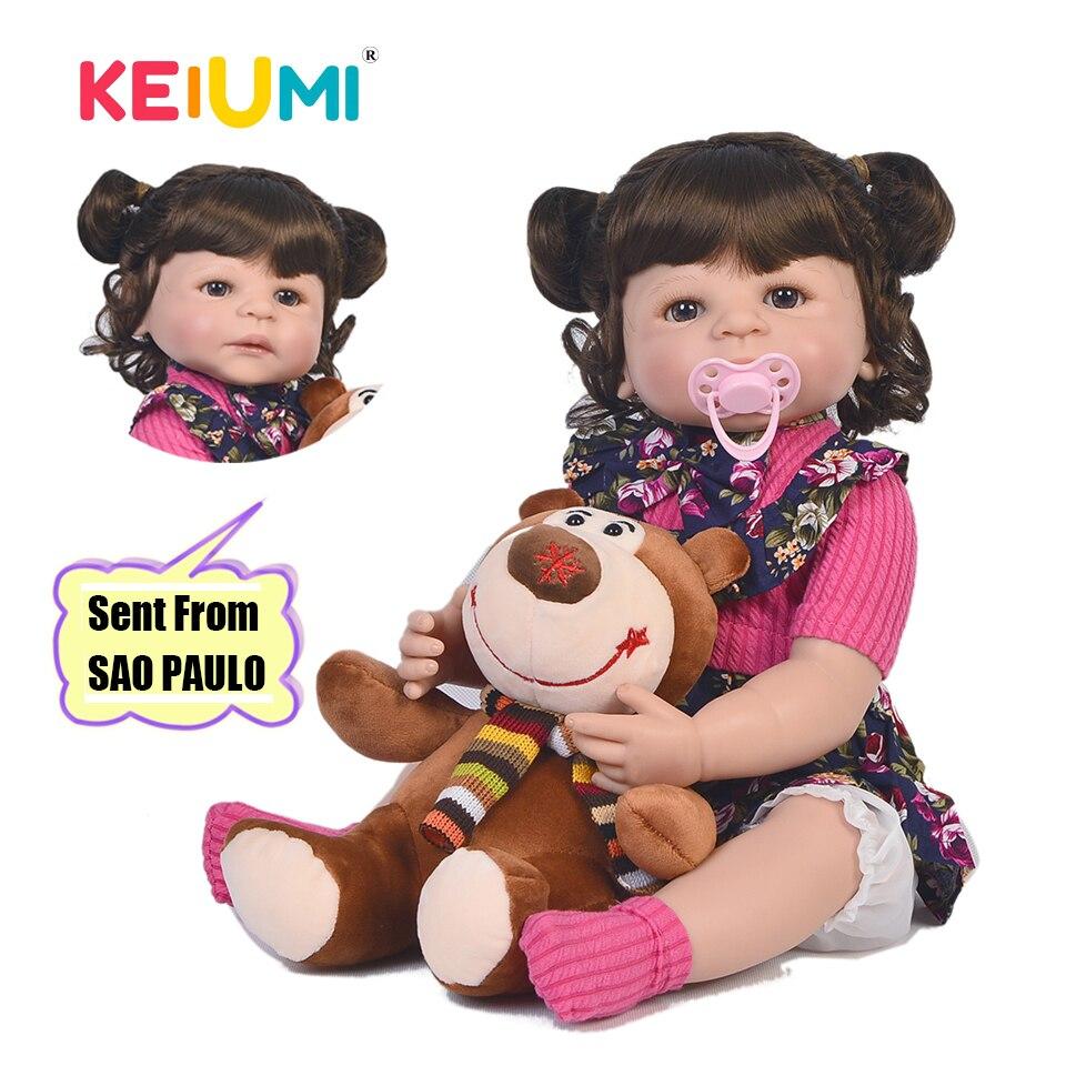 KEIUMI 22 ''Reborn Baby Meisje Full Body Siliconen Mode Baby Poppen Kids Boneca Reborn DIY Speelgoed Echt Prinses Met gebogen Haar-in Poppen van Speelgoed & Hobbies op  Groep 1