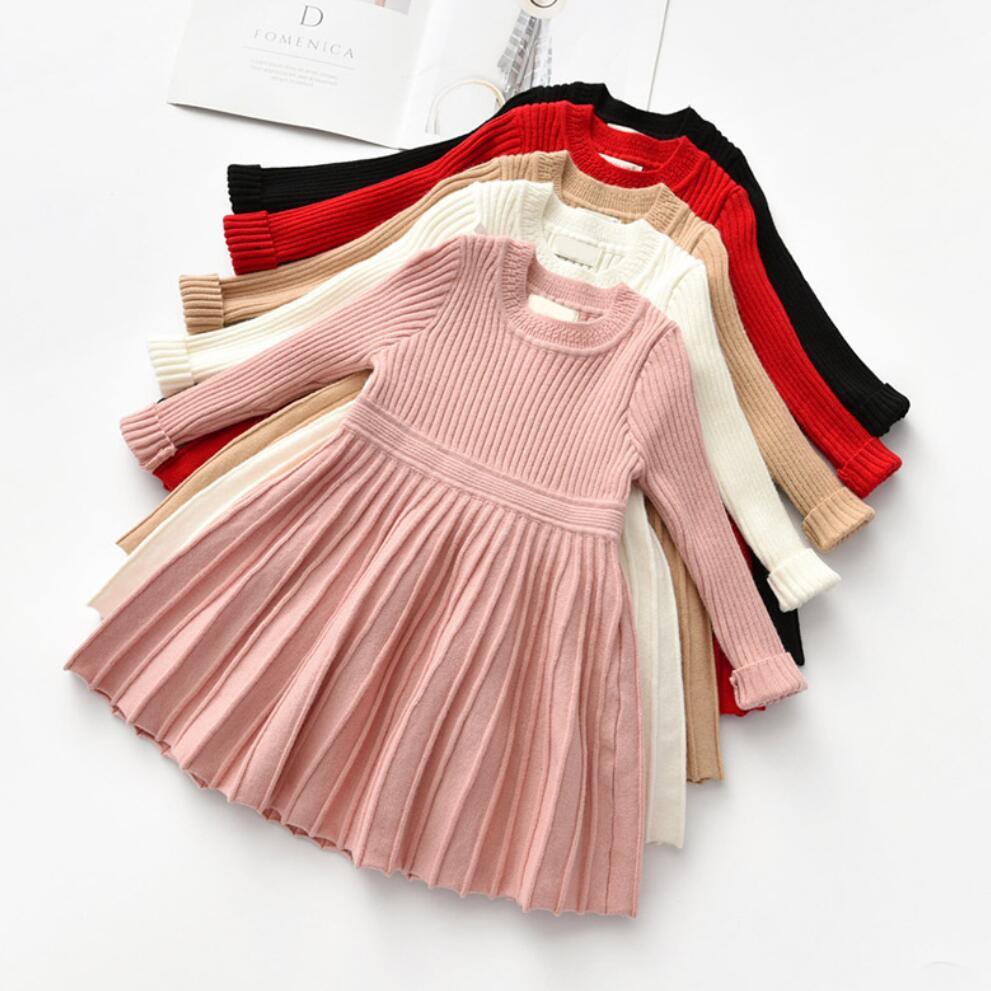 Bebê meninas vestidos para o traje de natal manga longa malha inverno camisola princesa vestido crianças 2 3 4 5 6 anos roupas da menina outono