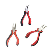 Wholesale Hair Extension Pliers Tools Straight And Curved Pliers Hand Tools For Nano Rings Feather Hair Extensions(China)