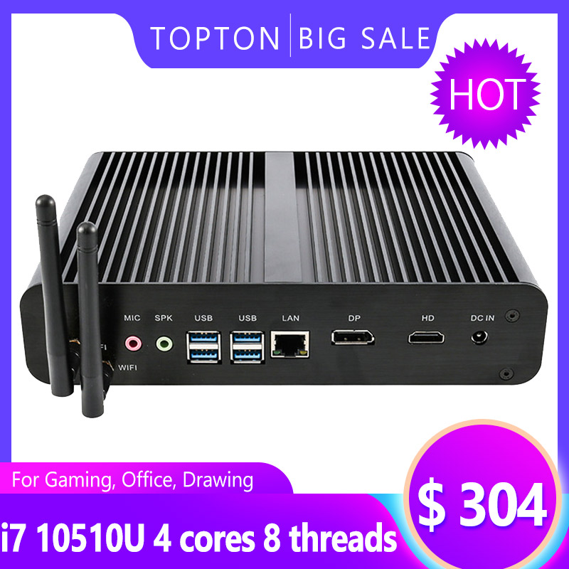 TOPTON 2020 10Th Gen Fanless Mini PC Intel Core I7 10710U 10510U Gaming Computer M.2 NVMe+Msata+2.5''SATA HTPC Nettop HDMI DP PC