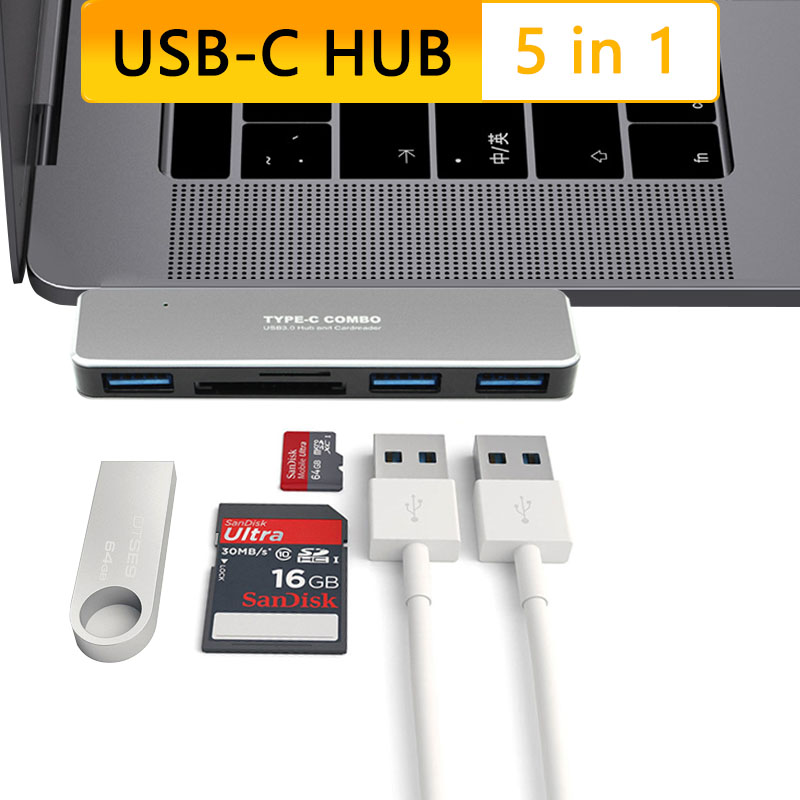 USB Hub Dock Station Typ C zu <font><b>3</b></font> USB <font><b>3</b></font>.0 TF <font><b>SD</b></font> Kartenleser USBC Typ-c Adapter für Laptop macBook Pro 2017 Air <font><b>Thunderbolt</b></font> <font><b>3</b></font> image