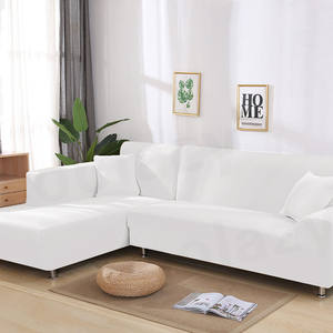 White Sofa Cover-Set Chaise Stretch Elastic Living-Room L-Shaped for Pets Longue 1/2pieces