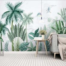 Tropical Palm Leaves Wallpaper Mural Wall Decorative Wall Papers Home Improvement Rain Forest Green Plant Leaf Wall Murals(China)