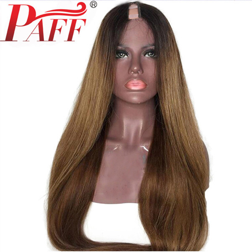 PAFF Brazilian 1B 30 Color Silky Straight U Part Human Hair Wigs  1*3 Ombre Remy Human Hair U Shape Two Tone Middle Part