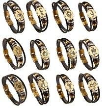 12 Constellations Bracelet Men Leather Bracelet Male Wristband Vintage Punk Friendship Bracelets For Women Charm Jewelry