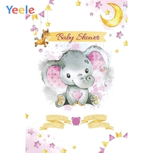 Yeele Newborn Girl Baby Shower Elephant Backdrop Pink Princess Moon Star Custom Vinyl Photography Background For Photo Studio