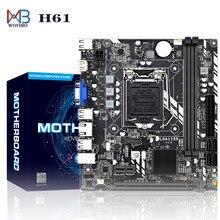 Микро материнская плата Placa mae H61 LGA 1155 разъем DDR3 ПАМЯТЬ VGA PCI-E для Intel LGA1155 I3 I5 I7 Xeon серия десктопная материнская плата