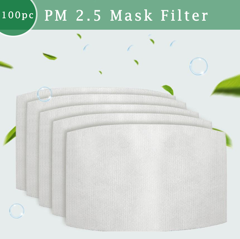 100pcs 5 Layers PM 2.5 Mask Filter Anti Haze Mouth Mask Replaceable Filter Paper Activated Carbon Filter For Adults Health Care
