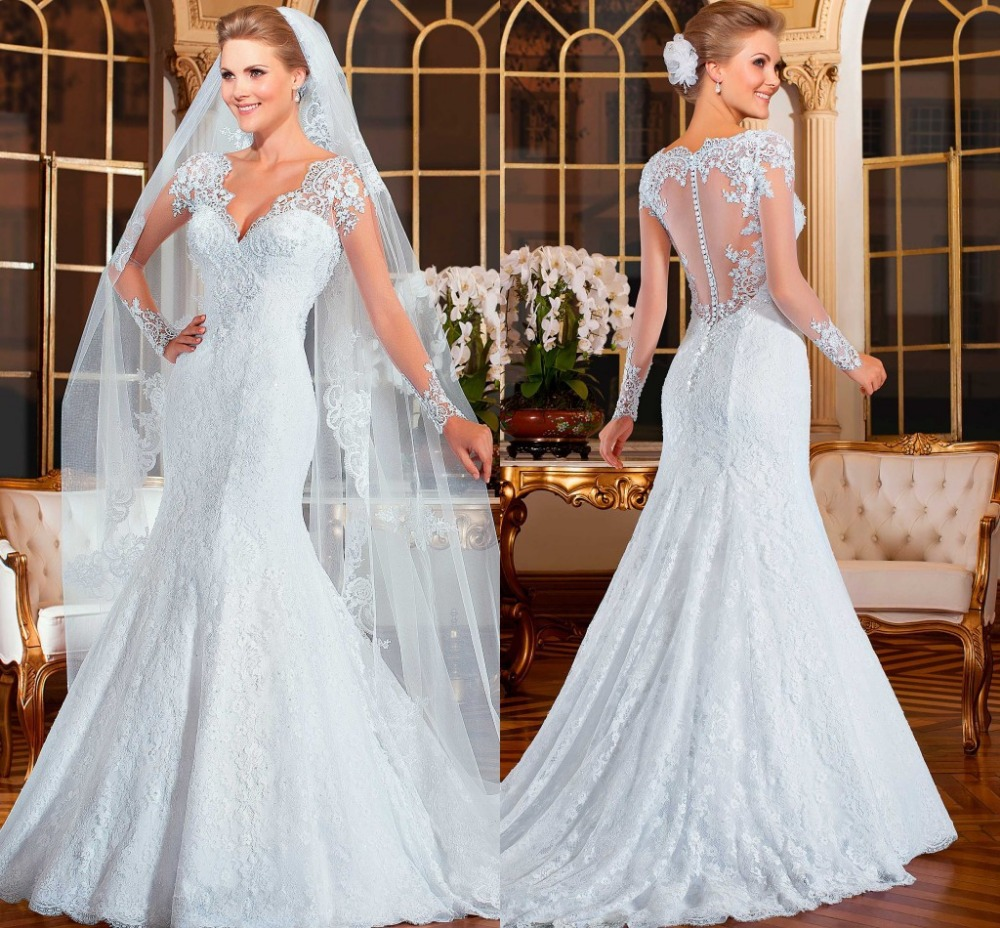 2018 Vestido De Noiva See Through Back V-neck A-line Lace Full Sleeves Robe De Soiree Bridal Gown Mother Of The Bride Dresses