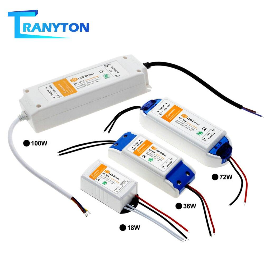 18W 36W 72W 100W alimentation LED alimentation DC12V pilote haute qualité transformateurs d'éclairage pour LED bandes lumineuses 12V adaptateur d'alimentation