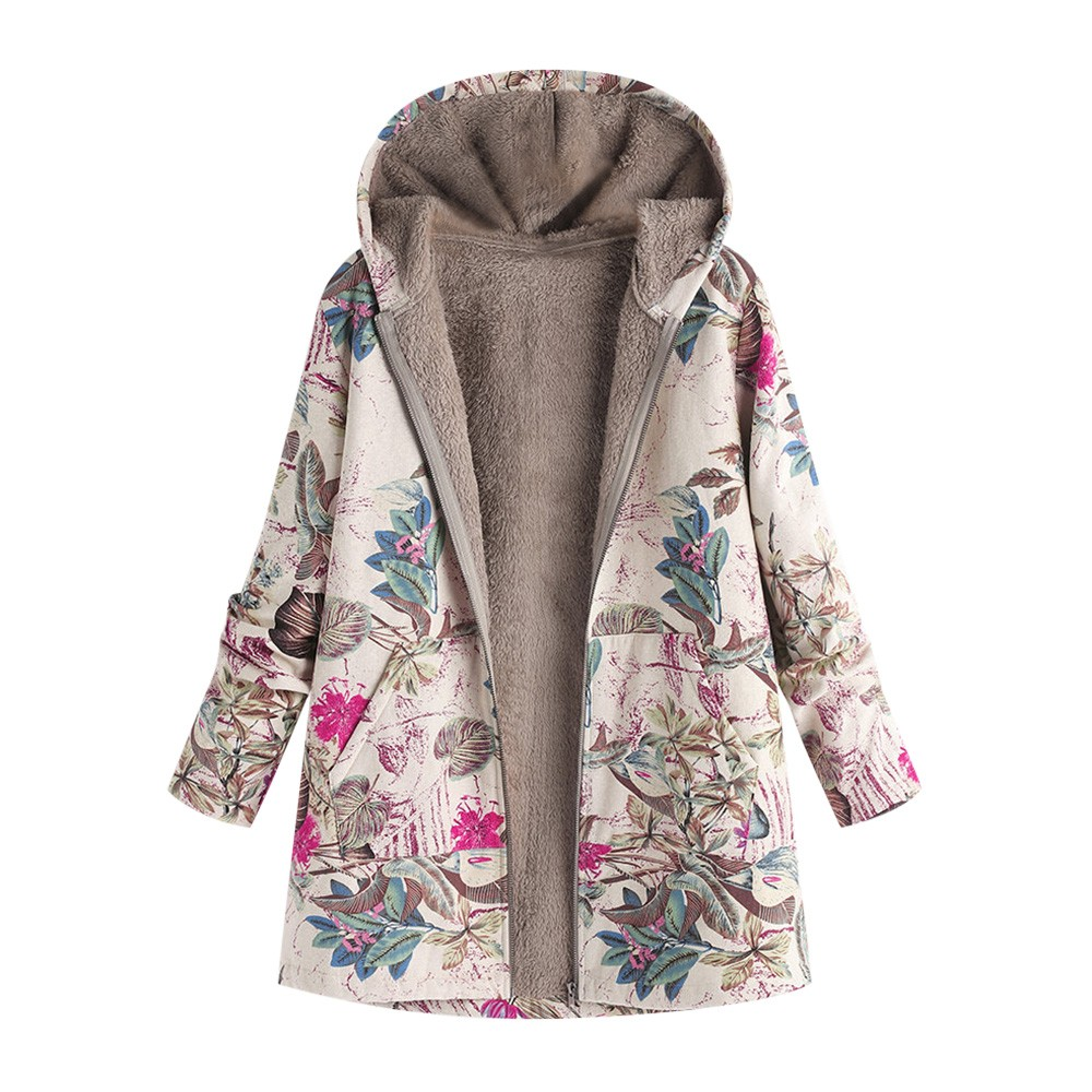 2019 Jacket Women Winter Vintage Outwear White Floral Hooded Pockets Coat Women Plus Size 5xl Korean Style Zipper Female Jacket on AliExpress