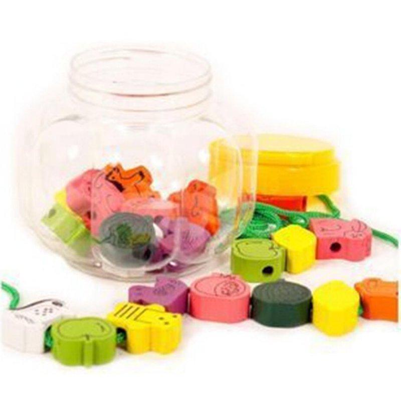 Cartoon Fruit Animal Stringing Threading Wooden Beads Toy Kids Wooden Toys Baby DIY Toy Random Pattern 25PCS