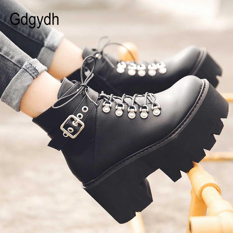 Gdgydh sonbahar kış tıknaz topuk platformu çizmeler dantel-up siyah gotik çizmeler kadın peluş içinde rahat seksi toka ayakkabı