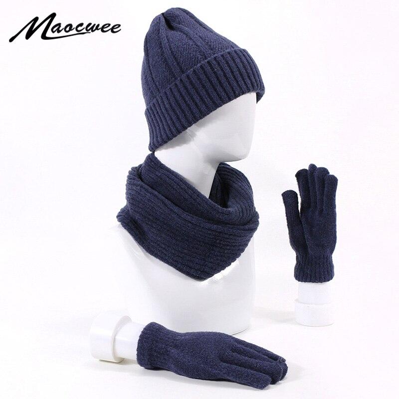 Women's Winter Hats Ring Scarf Gloves Set Unisex Warm Thick Outdoor Beanie Hat Skullies Beanies With Lining Hat Scarf Gloves Set