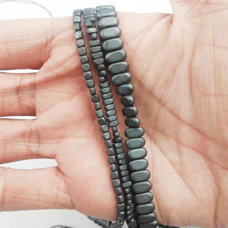 HGKLBB матовый прямоугольник черный Кровавик; натуральный камень 4*2/8*4 мм кубовидные свободные бусины для изготовления ювелирных изделий браслет аксессуары DIY