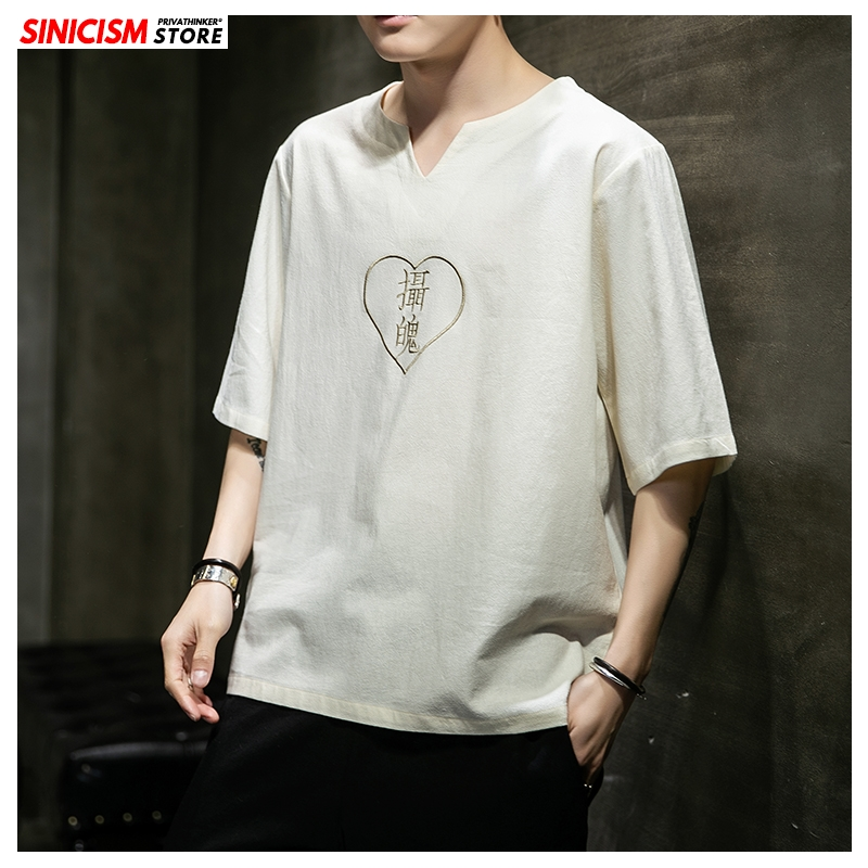 Sinicism Store 2020 Men Cotton Linen Embroidery T Shirt Men's Summer Casual Short Sleeve T Shirts Male Clothes Chinese Style New