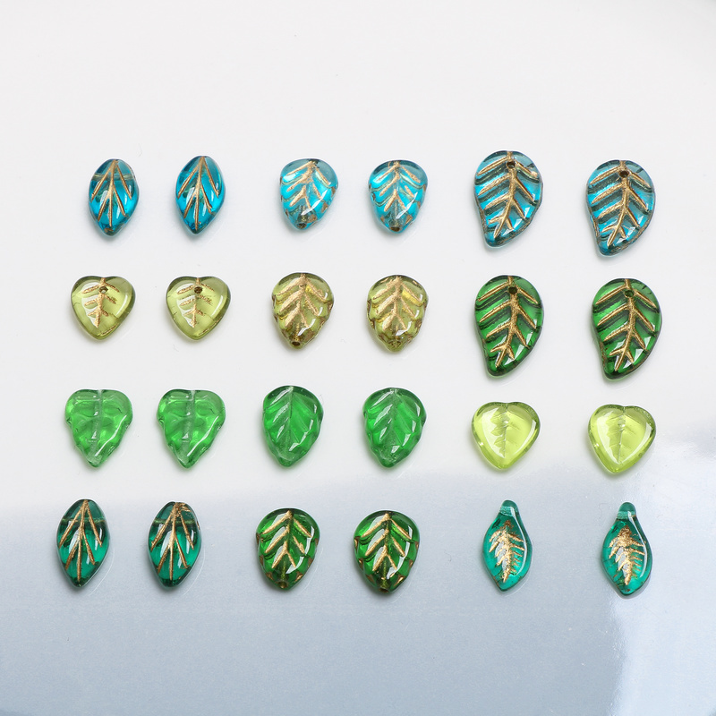 Czech Imported Colored Glaze And Trace Gold-green Leaves, DIY Hand-made Ornament, Ear-ring Accessory Material