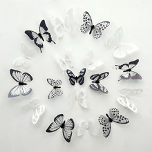 18pcs/lot 3D Effect Crystal Butterflies Wall Sticker Beautiful Butterfly for Kids Room Decals Home Decoration On the