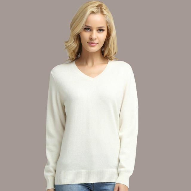 Long Sleeve V-neck Knitted Cashmere Sweater 2