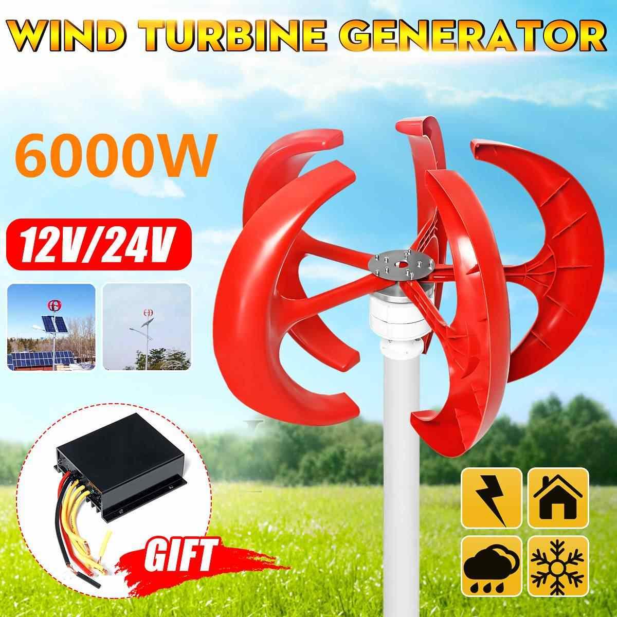 6000 واط 5 شفرات الرأسي Axi توربينات الرياح مولد فانوس 12 فولت 24 فولت معدات موتور الكهرومغناطيسية للاستخدام المنزلي ضوء الشارع