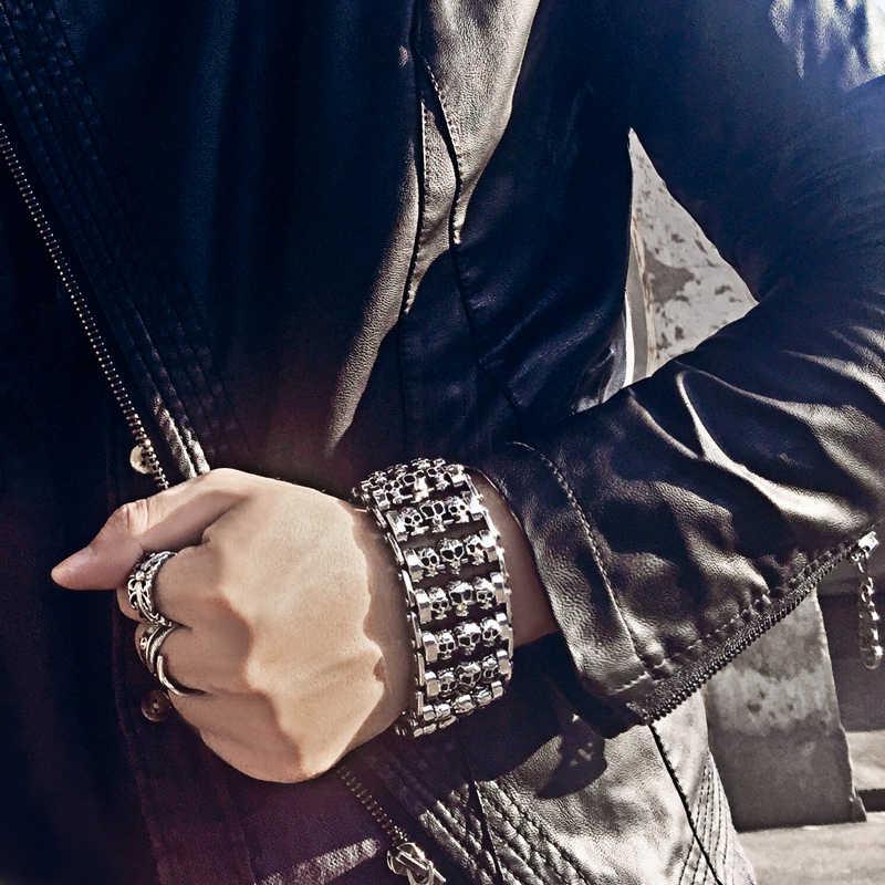 와이드 버전 남자 해골 팔찌 펑크 316 스테인레스 스틸 여러 해골 머리 매력 팔찌 바이커 핸드 체인