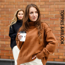 Toppies Winter Woman Sweater Turtleneck Oversize Pullovers Jumper Female knitted tops irregular hem Korean Clothing