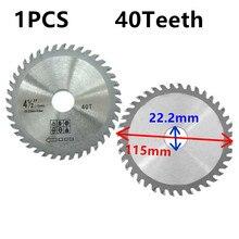 Hoja de sierra para molinillo de madera y Ángulo de plástico, de 4,5 pulgadas/115mm, disco de cuchillas de carburo, piezas de herramientas para 40 dientes 1 unidad