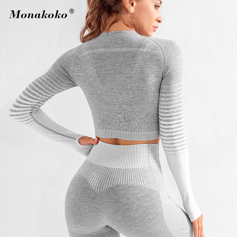 Seamless Rib Yoga Set Sport Outfits Women Two 2 Piece Dry Fit Tight Long Sleeve Crop Top+Leggings Workout Gym Suit Fitness Sets