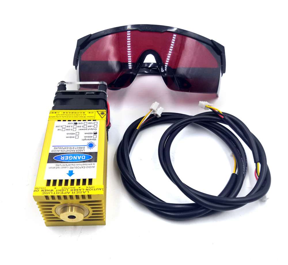 Heißer verkauf Neue 15W Laser Köpfe Mit Schwerpunkt 3P Mit TTL/PWM 450nm 15000mw CNC Laser Gravur modul
