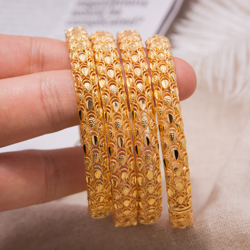 4Pcs Dubai Jewelry Phoenix Flower Couple Bracelet Copper Gold Color Bride Wedding Bracelets & Bangles For Men Women Jewelry