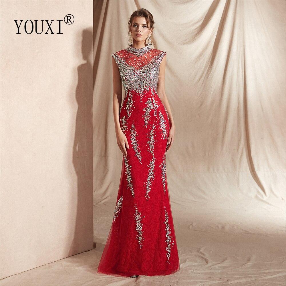 US $14.14 14% OFFElegant Beaded Crystal Lace Evening Dresses 14 Luxury  Sleeveless Mermaid Long robe de soiree abendkleider Lang-in Evening Dresses