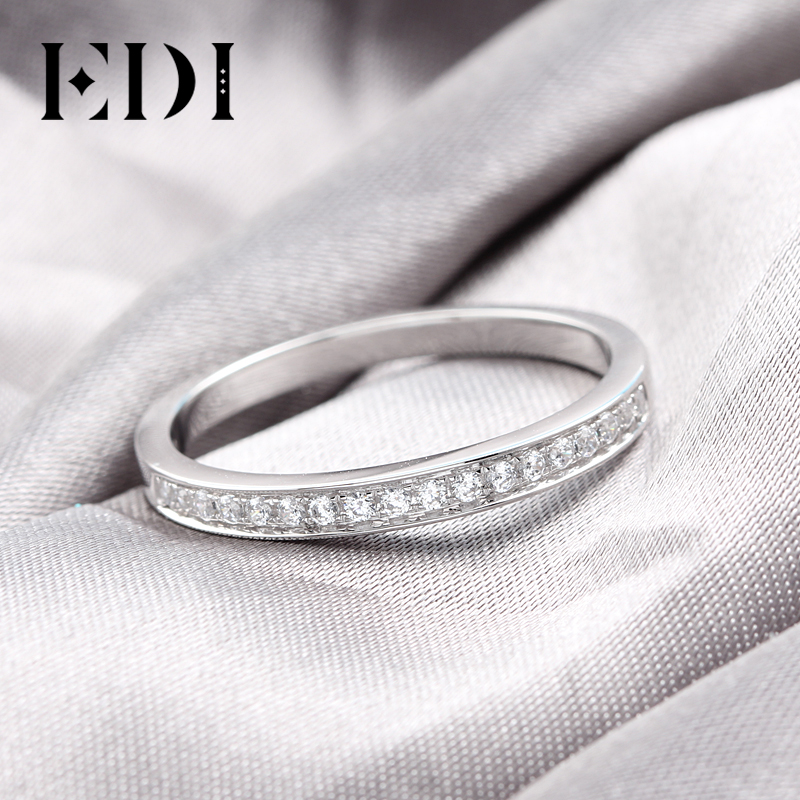EDI Solid 9K White Gold Ring set For Women Lady Engagement Ring Pave Simulated Diamond Jewelry Matching Wedding Bands(SNR-116)