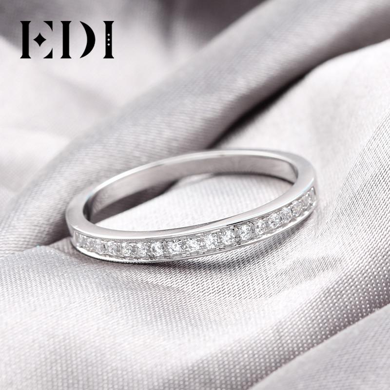 Set de anillos de oro blanco de 9K para mujer, anillo de compromiso de señora, pavé, Joyería de diamantes simulada, bandas de boda a juego (SNR 116)-in Anillos from Joyería y accesorios    3