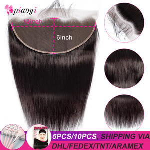 Piaoyi Human-Hair Lace-Frontal Remy Bleached 13x6 Transparent Malaysian To Ear HD Straight