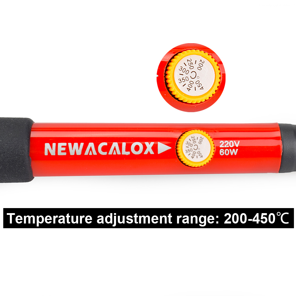 Tools : NEWACALOX 110V 220V 60W Thermoregulator Electric Soldering Iron Kit Screwdriver Desoldering Pump Tip Wire Pliers Welding Tools