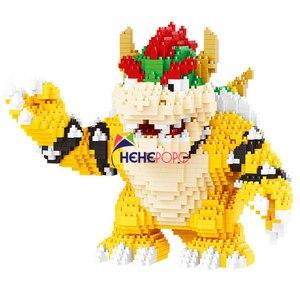 Image 2 - 2200 sztuk 21822 diamentowe klocki Cartoon figurka Koopa King Anime Micro DIY budynku zabawki na prezenty dla dzieci Brinquedos dzieci