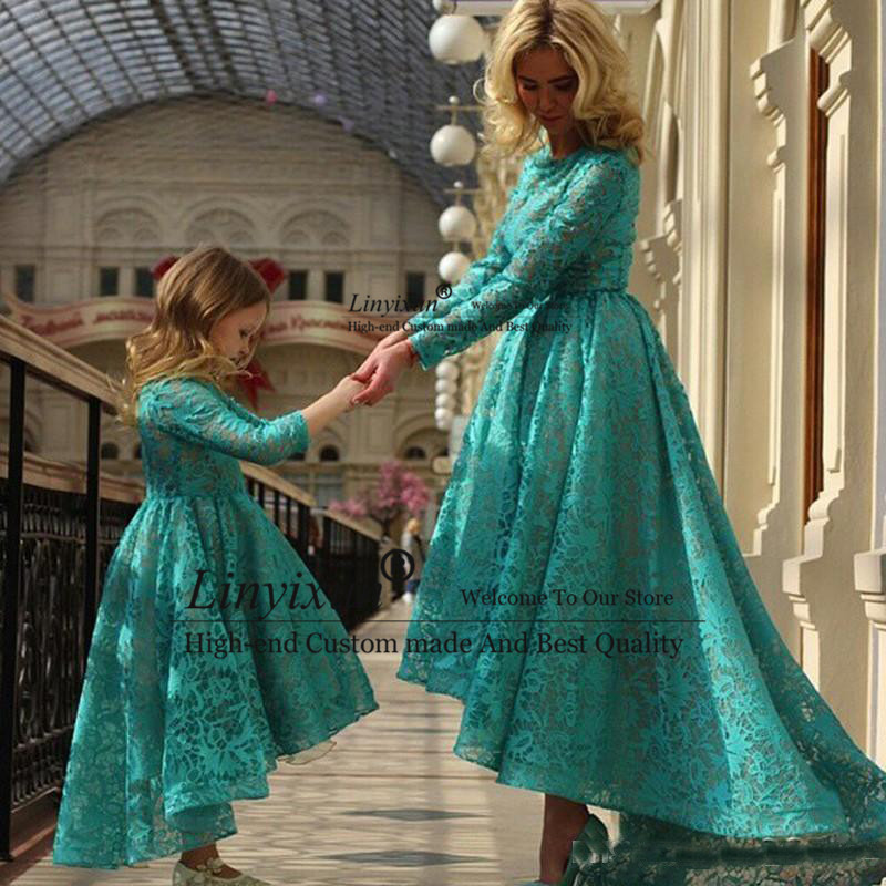 Long Sleeves Arabic Mother And Daughter Prom Dresses Full Lace Hunter Custom Made Cheap Hi Lo Evening Gowns Green Prom Dress