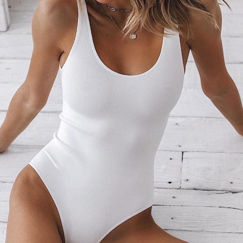 White Strappy Bodysuit Sexy Backless Ribbed Bodysuit Romper string femme sexy Sleeveless Tank Top gloved bodysuit Body Female