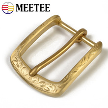 Meetee 1/2pcs 40mm Brass Belt Buckle Mens Pin Buckles for 38-39mm DIY Hand-carved D Leather Craft Material