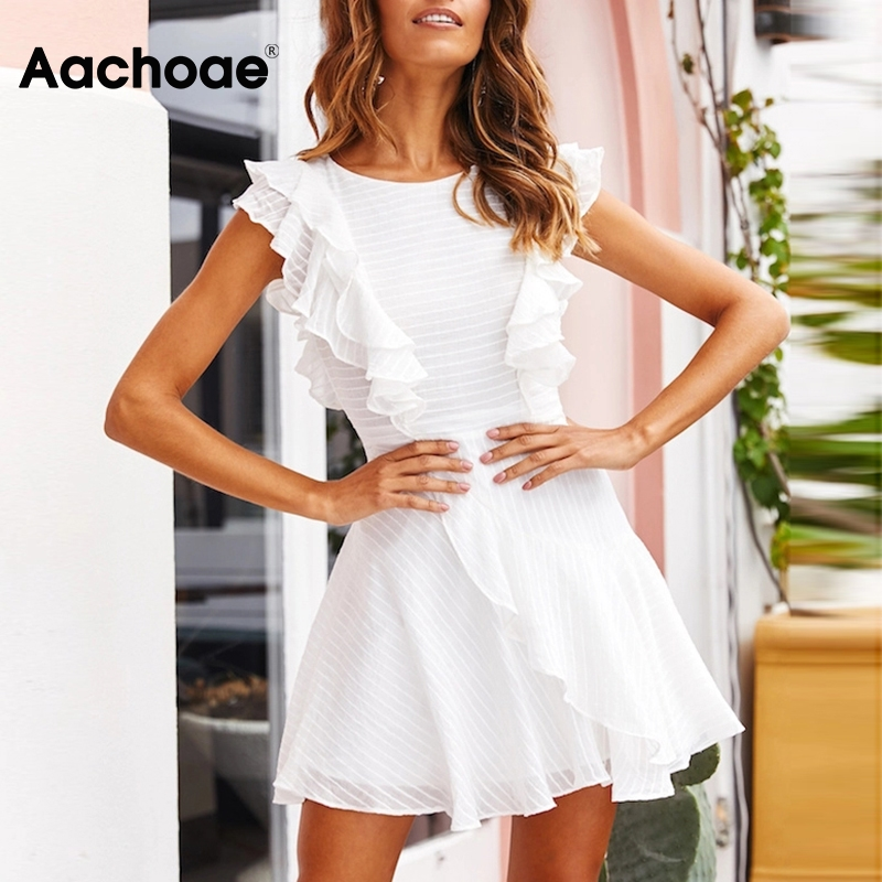 Aachoae Women Ruffle Mini Dress Summer 2020 Solid O Neck Ladies Casual Dresses Sleeveless A Line Chic Party Dress Vestidos Mujer