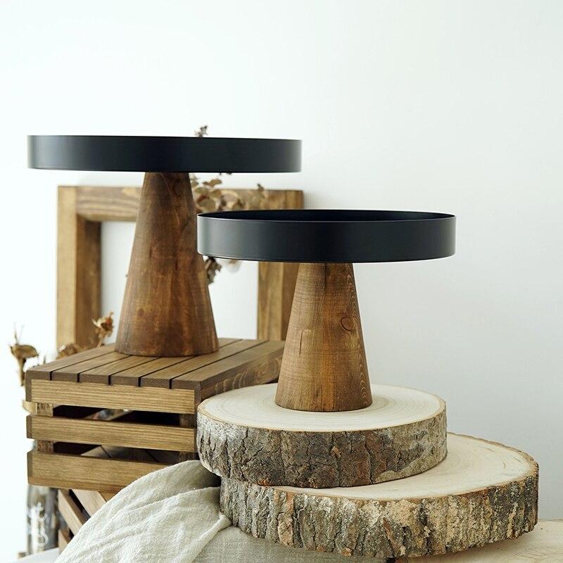 Plateau à gâteaux/Fruits en bois écologique | Plateau à gâteau haut en bois, plateaux de service à aliments créatifs multi-usage, décor de maison de mariage