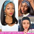 18 Inch Headband Bob Wig Human Hair Bob Wigs For Black Women Straight Brazilian Machine Made Remy Natural Color Wigs