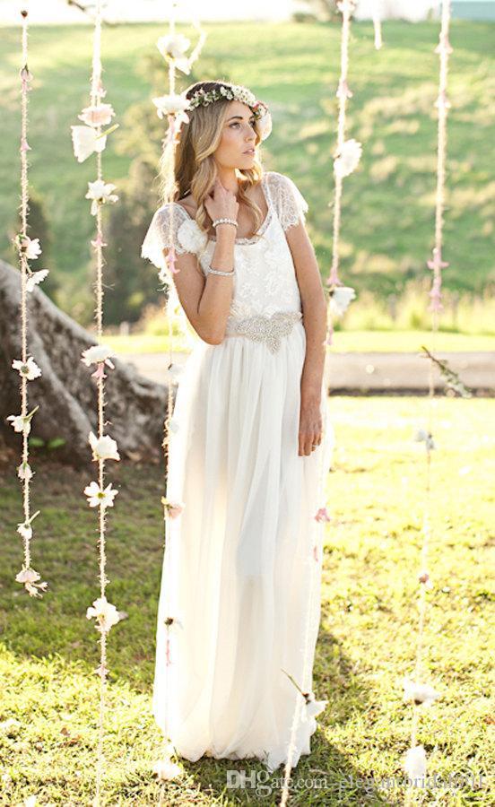 Robe de Mariee Laço do Vintage Vestido de Noiva Dama de Honra Praia Bonito Laço Mangas Tampado Baixo Voltar Vestidos 2020