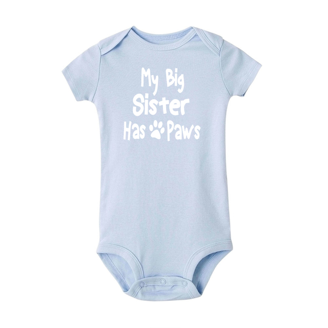 huatongxin My Big Sister Has Paws Short Sleeve Baby Onesie Rompers Mono for Newborn Baby