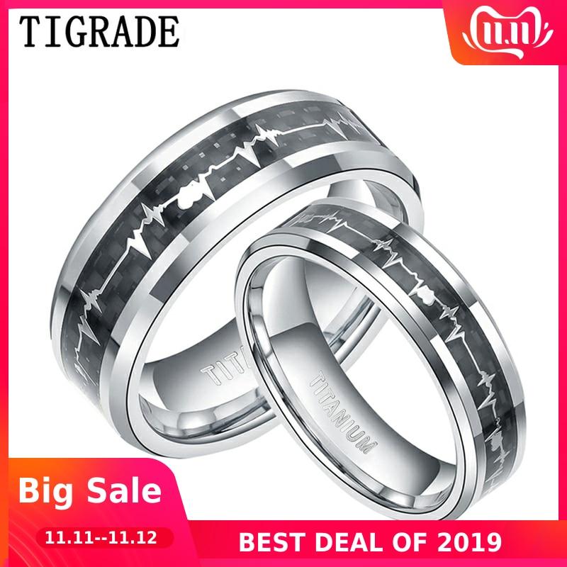 Tigrade Unisex Titanium Ring To Lover Black Inlay with Heart ECG Design Men Women Wedding Band Couple Custom Engraving  unique