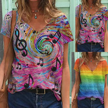 Summer Women's Note Rainbow Print Shirt V-neck Casual Loose-fitting Tie-dye Gradient Women's T-shirt Tops Love Is Love